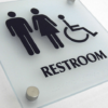 Restroom Sign Closeup at an Angle