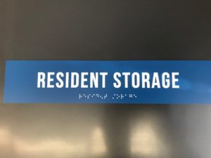 ADA Signage for Resident Storage